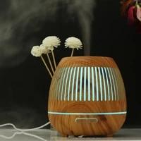Humidificateur dair ultrasonique avec veilleuse a 7 couleurs changeantes  diffuseur dhuile aromatique electrique essentielle de Grain de bois pour maison  400ML