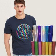50cm*200cm Holographic Heat Transfer Vinyl on T-shirt, hat, sweater Heat Press Film 20''x78.74'' High Quality