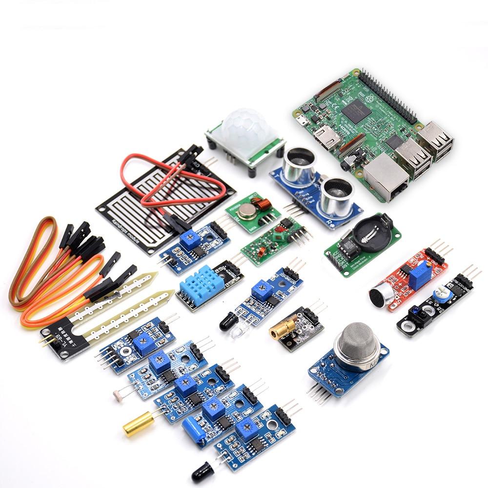 Бесплатная доставка 16 в 1 Набор сенсоров с Raspberry Pi 3 Model B Обучающий набор для начинающих