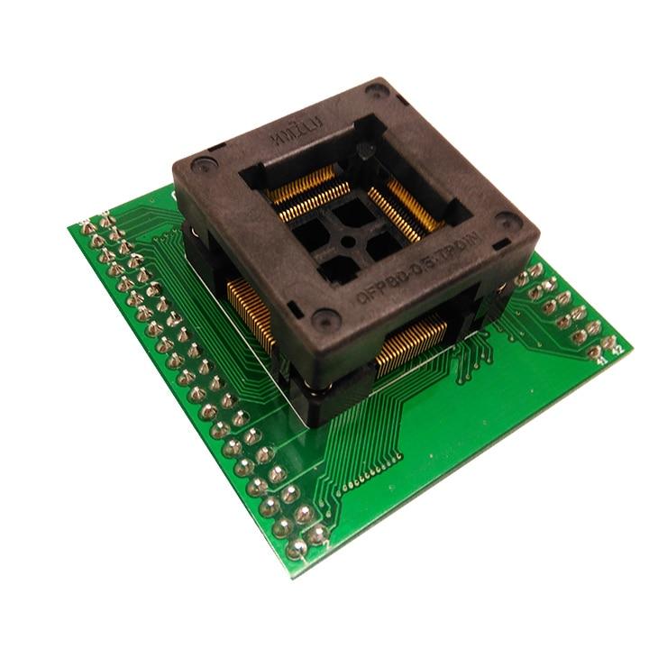 Tqfp80 fqfp80 qfp80 para dip80 OTQ-80-0.5-02 queimar no passo do soquete do teste 0.5mm ic tamanho do corpo 12x12mm adaptador de programação soquete zif