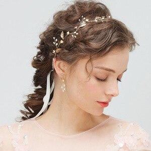 Bridal Pearl Hairband Earring Jewelry 2 pcs Romantic Elegent Handmade Wedding Banquet Ladies Hair Accessories Bridal Headdress