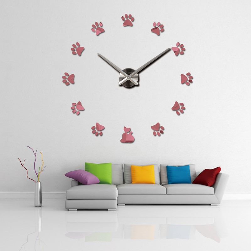 DIY watch clock Living Room 3D Quartz Acrylic Mirror effect home decoration Modern footprint Wall sticks still life style