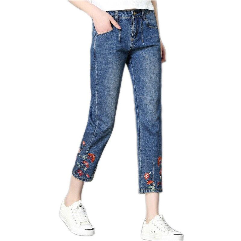 2017 Women Jeans Summer Autumn Jeans Women Denim Pants Korean Embroidery Women's Denim Wide Legs Pants S-5XL Plus Size