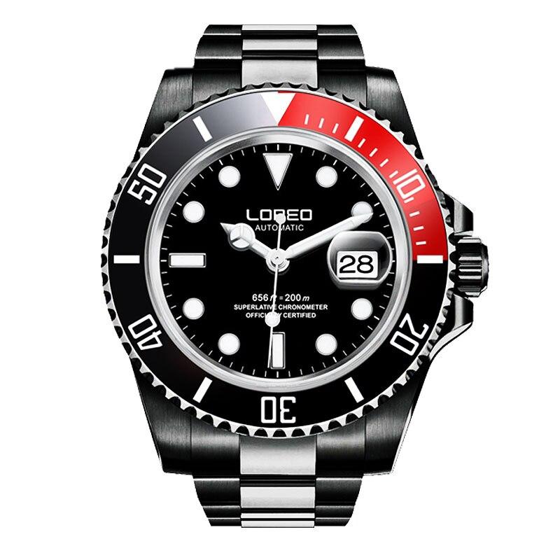 Reloj mecánico automático de zafiro LOREO para hombre, de acero inoxidable, resistente al agua, reloj de esfera negra, reloj femenino