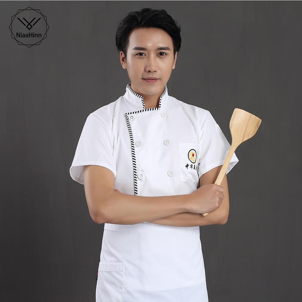 Chaqueta de Chef de servicio de comida de estilo chino uniforme de restaurante de manga corta blanca de cocina de hotel para hombre y mujer ropa de trabajo