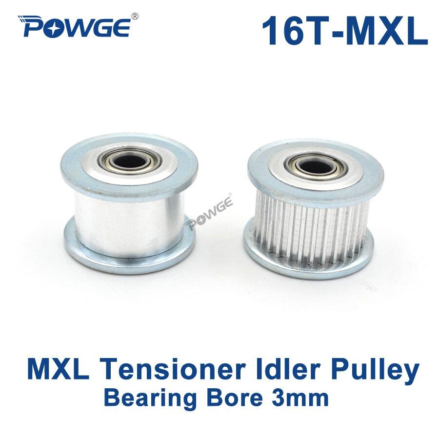 Powge Polegada 16 dentes mxl synchronous polia tensor roda furo 3mm com guia de rolamento que regula a polia mxl 16 dentes 16t