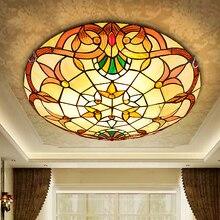 Style Baroque moderne 12/16/20 pouce LED ou E27 pastorale plafonnier Tiffany soudure ronde vitrail abat-jour lampara