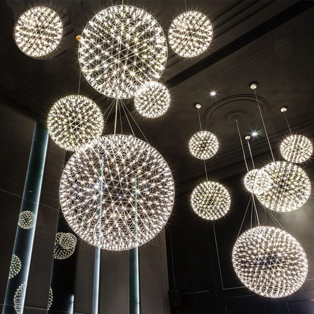 ما بعد الحداثة شرارة قلادة ضوء مصمم ضوء غرفة المعيشة الطعام المعادن مصابيح الألعاب النارية الإنارة الفضة ارتفع الذهب بريق