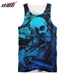 UJWI Retro Style Men Cool Print Skull 3d Tanktops Male Hip Hop Fitness Bodybuilding Vest Summer Tops Casual Sleeveless Shirts