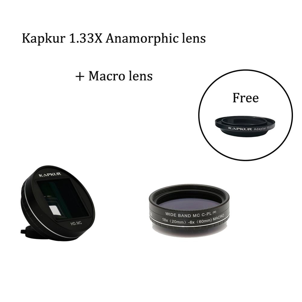 Kapkur 1.33X ananorphic عدسة + 18X ماكرو عدسة مجموعات مع واحد الهاتف حالة ل اتخاذ الفيديو و 2 سنتيمتر-6 سنتيمتر إغلاق اطلاق النار