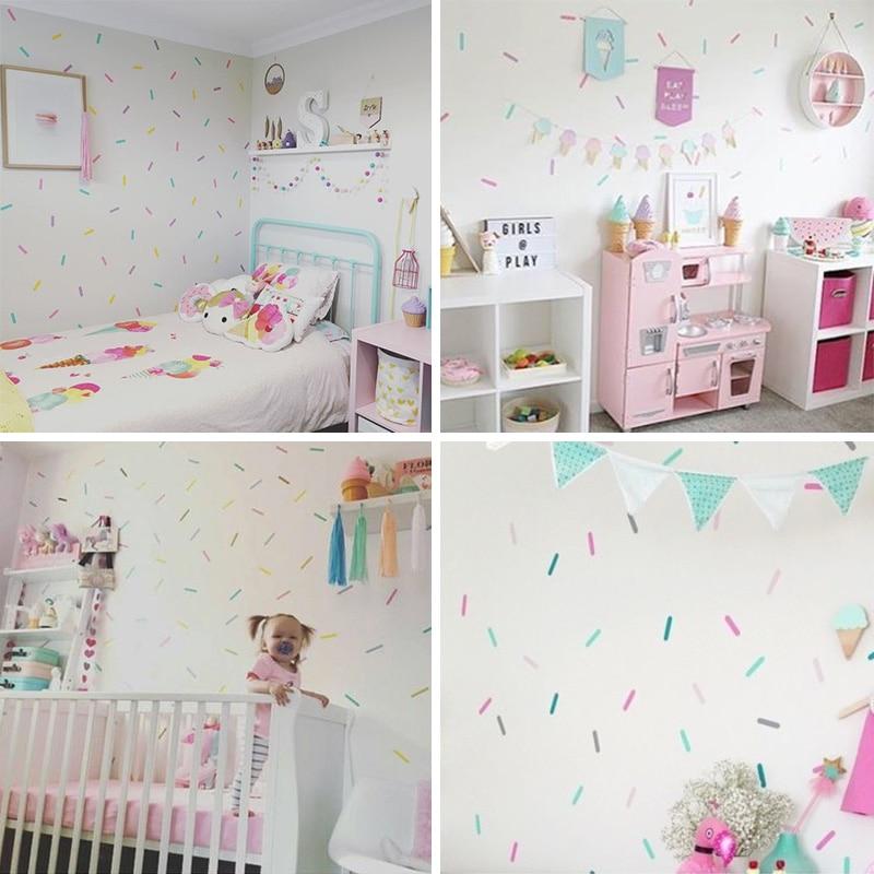 Sprinkles adesivos decorativos do quarto da menina do bebê adesivo de parede para o quarto das crianças do feriado decoração da sala de festas crianças adesivos de parede