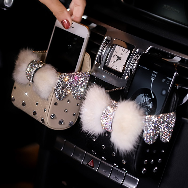 Портативная автомобильная сумка для хранения с алмазным кристаллом и бантиком, норковый меховой Автомобильный держатель для крепления на вентиляцию, чехол для косметики, универсальная сумка на мобильный телефон