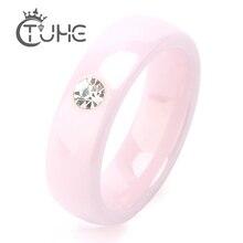 2019 anneaux en céramique rose pour femmes anneaux en céramique Bling CZ pierre en céramique anneaux de mariage bijoux fantaisie vente en gros