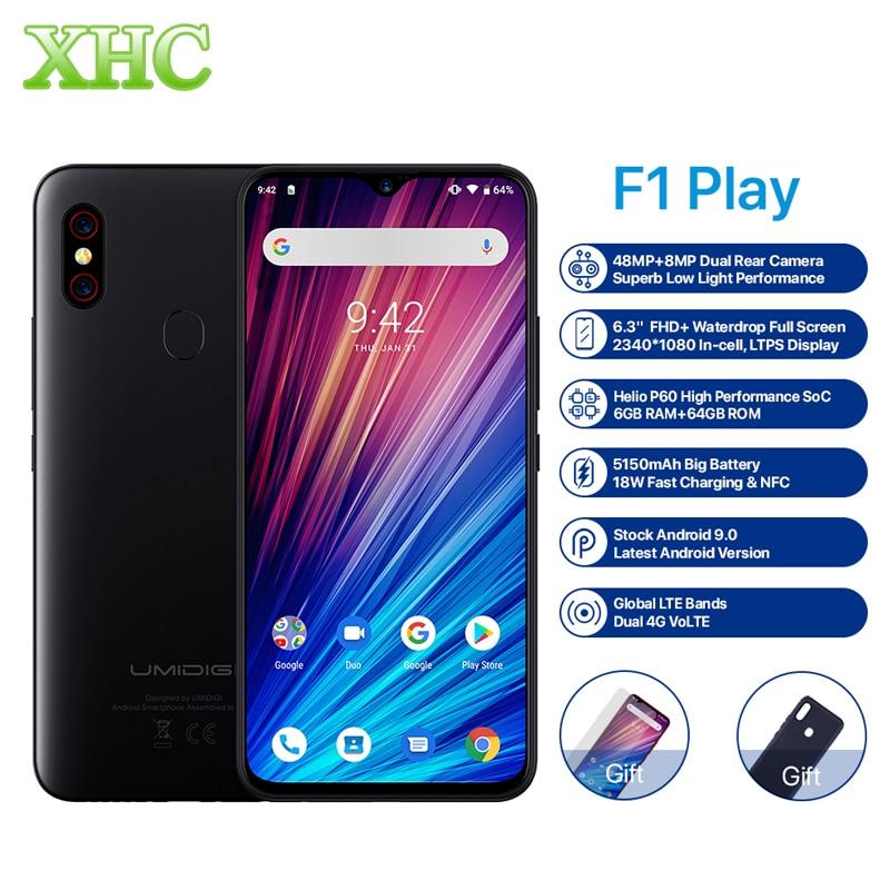 """Umidigi f1 jogar android 9.0 48mp + 8mp + 16mp câmeras do telefone móvel 6 gb ram 64 gb rom 6.3 """"fhd + helio p60 smartphone global duplo 4g"""