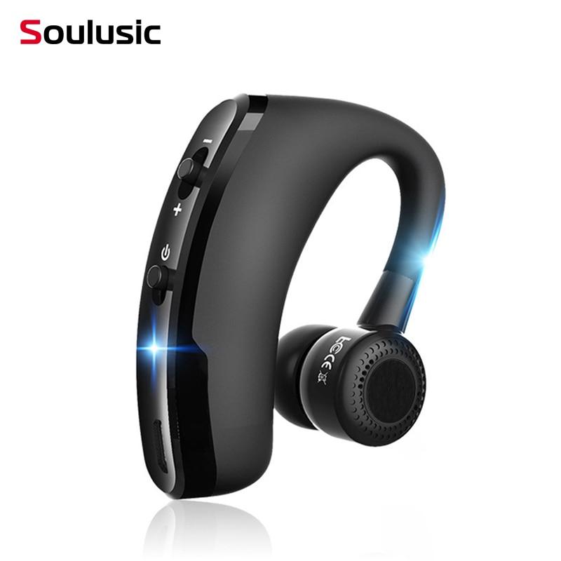 Soulusic V9 الأعمال سماعة لاسلكية تعمل بالبلوتوث سماعة رأس مزودة بميكروفون التحكم الصوتي يدوي سماعة لمحرك ربط مع 2 الهواتف