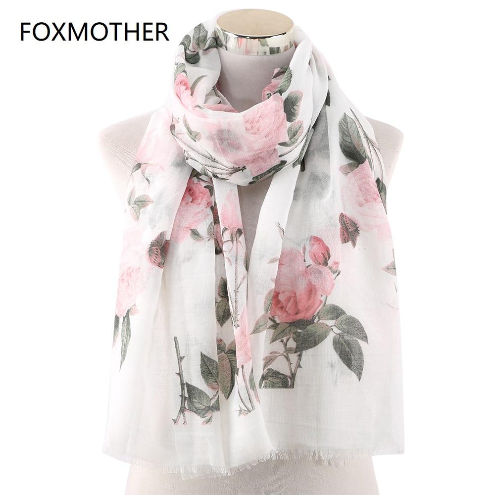 FOXMOTHER 2019 новые модные весенние шарфы белого, розового, мятного цвета с принтом розы, шали из фуляра, женский шарф с цветочным принтом