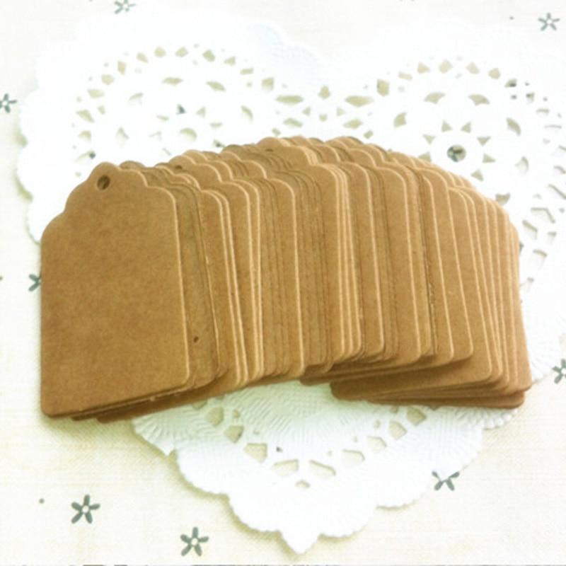100 Uds 5x3cm etiquetas de papel Kraft DIY etiquetas en blanco precio etiqueta colgante Kraft regalo marrón encaje festoneado Etiqueta de cabeza equipaje Nota de boda