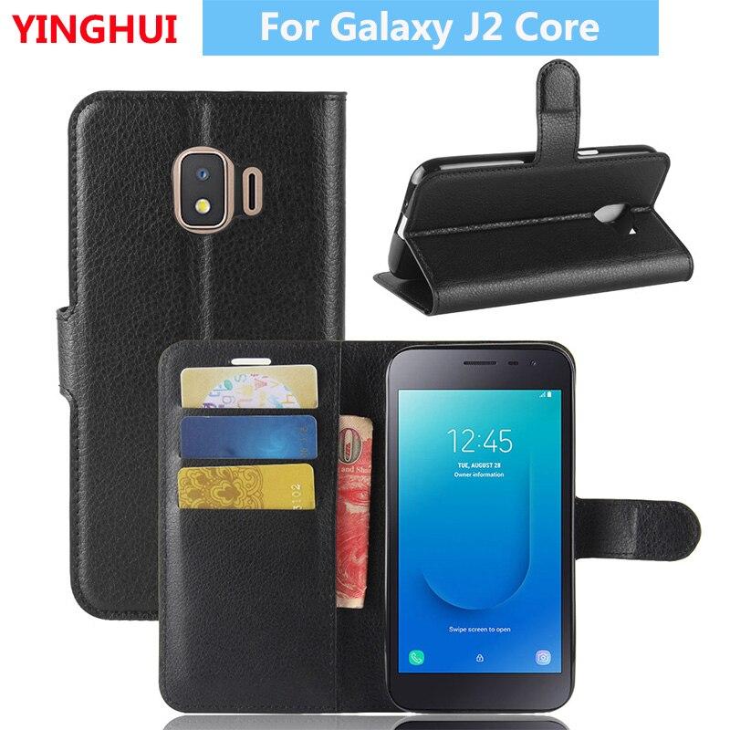 Fors Samsung Galaxy J2 Núcleo Phone Case Leather Flip para Samsung Galaxy J2 Núcleo Livro Estilo Slot para Cartão Wallet Suporte do Caso da aleta