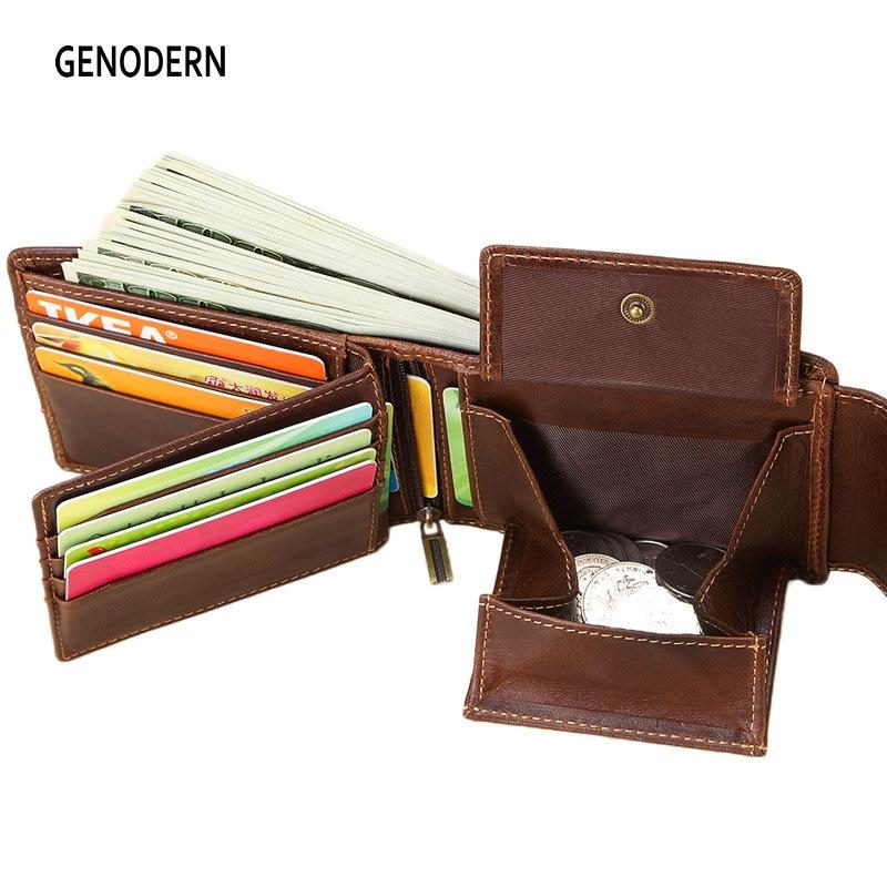 Génodern en cuir véritable hommes portefeuilles Vintage moraillon Design femmes argent sac fermeture éclair poche porte-carte mâle Portomonee porte-monnaie
