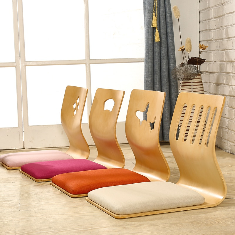 4pcs/lot Japanese Style Legless Chair Thick Cushion Seat Living Room Furniture Asian Tatami Floor Zaisu Chair Natural Finish