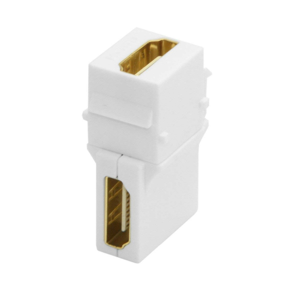 HDMI Keystone Jack inserta 90 grados en ángulo recto HDMI adaptador hembra a hembra chapado en oro