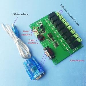 8-way RS232/serial control relay module board/computer control switch MCU/PLC