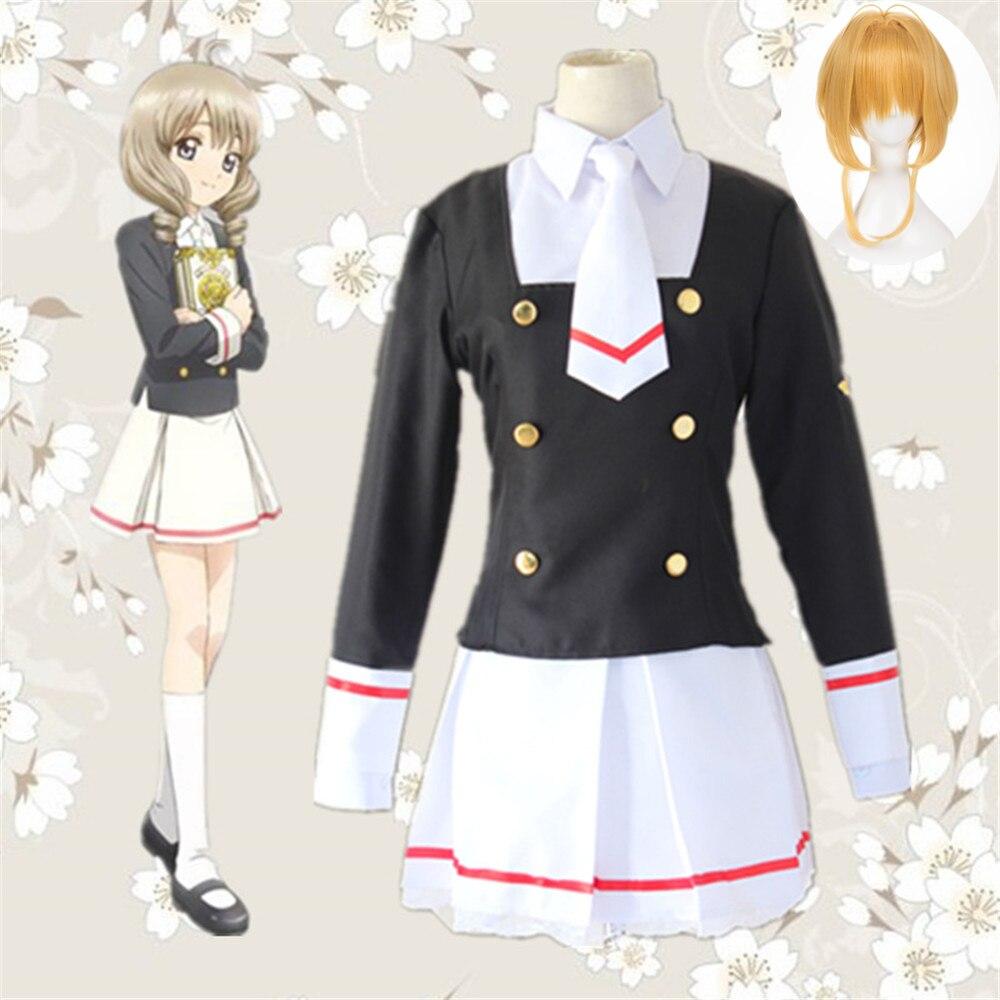 Sakura Cardcaptor Clearcard Cosplay disfraz Kinomoto Sakura Tomoyo Daidoji Cosplay traje de marinero uniforme de la escuela trajes