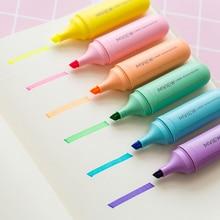 1-Piece Liner Highlighter Yellow Pink Blue Green Purple Orange Cute Highlight Marker Pens Oblique Toe School Office Suppllies