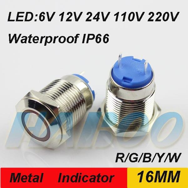 10 pçs/lote 16mm anti-vandalismo luz indicadora de luzes indicadoras de LED à prova d água IP66 IK08 6 v 12 v 24 v 110 v 220 v