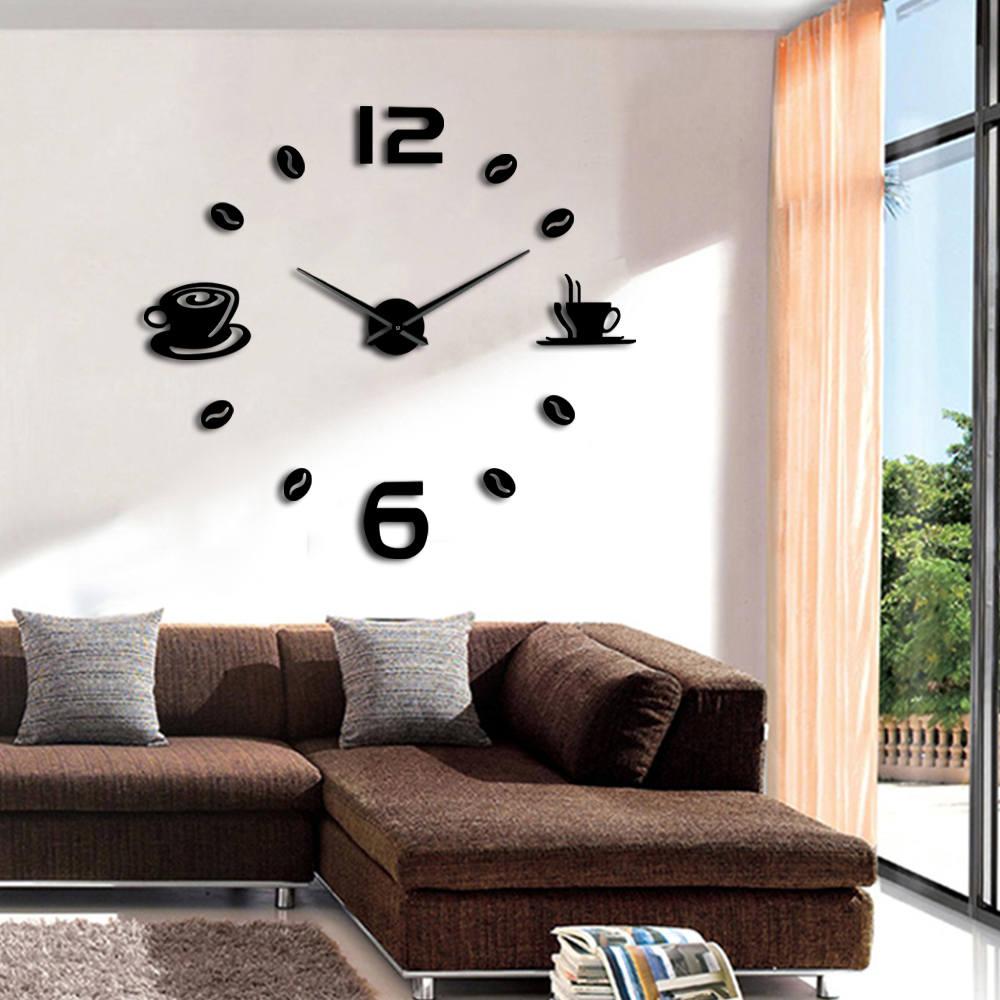 Montres de mode   Horloge murale à Quartz, 3D bricolage, grand mur, autocollant mural, décor de salon maison moderne, bricolage