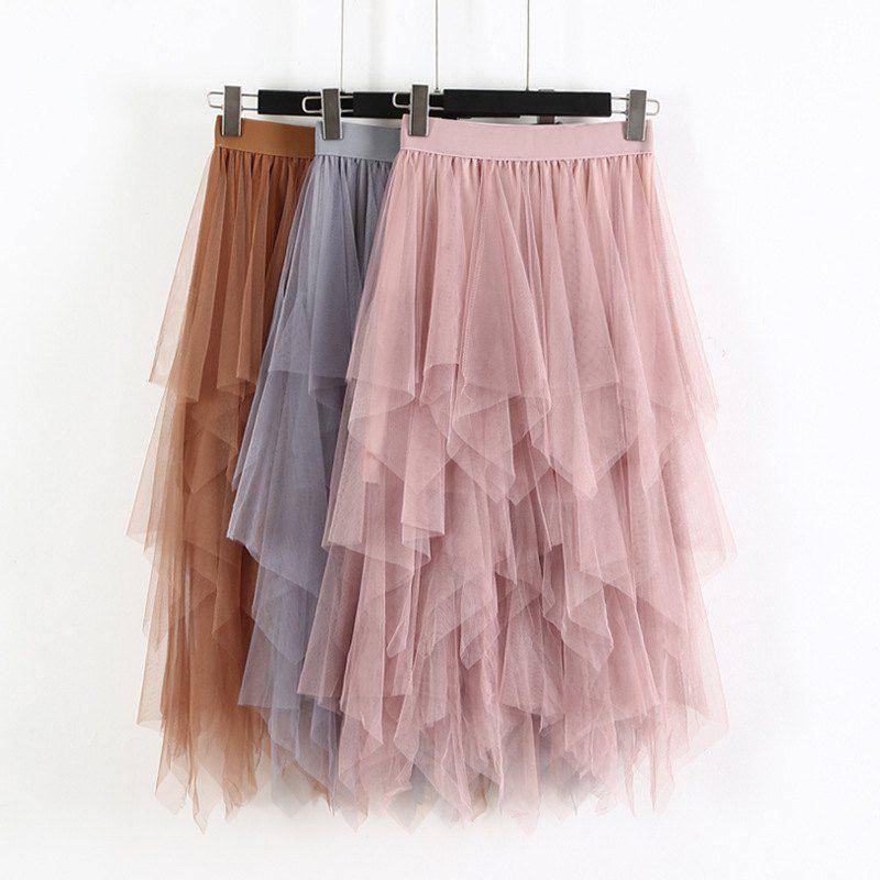 Moda 2020 primavera fiesta falda elástica de cintura alta Falda larga de tul mujeres Irregular Hem falda tutú de red señoras