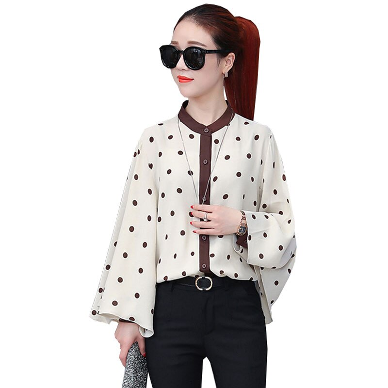 Spring Autumn 2018 New Dot Women Shirt Korean Office Blouse Bat Sleeves Fashion Womens Tops and blouses blusa feminina Z603
