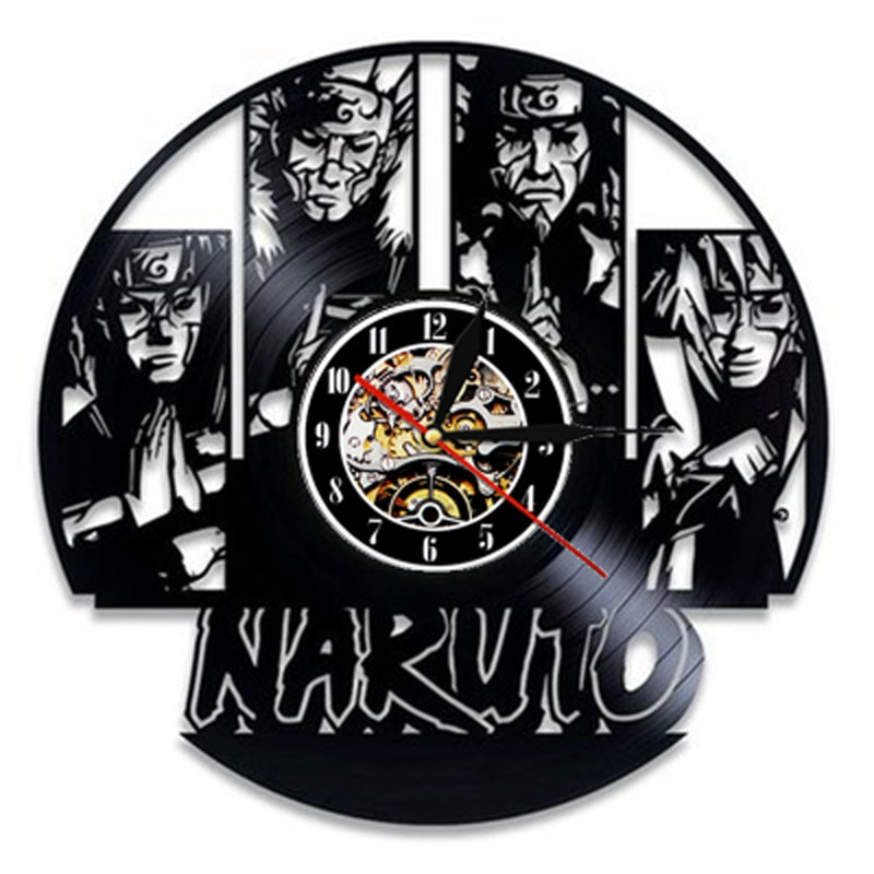 Reloj de pared de vinilo con diseño moderno de Naruto, reloj con temática de Anime, relojes 3D Vintage de Naruto Uchiha Sasuke, reloj de pared artística, regalos para adolescentes