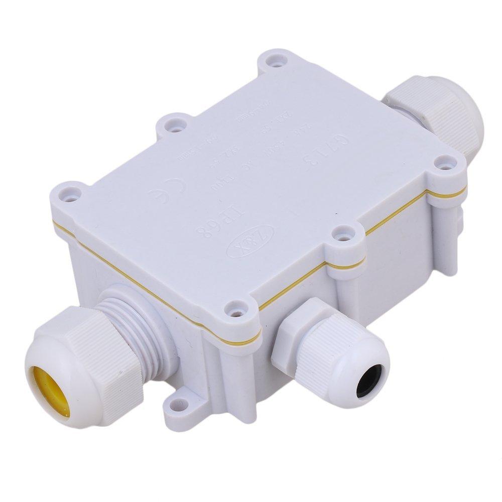 Caja de empalme blanca de 3 vías para conectores de Cable de exterior IP68 impermeable a prueba de sol con Terminal