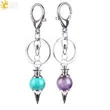 CSJA Reiki Natural Stone Pendant Pendulum Keychains Hanging Bike Car Buckle Key Rings Holder Purple Pink White Crystal Ball E823