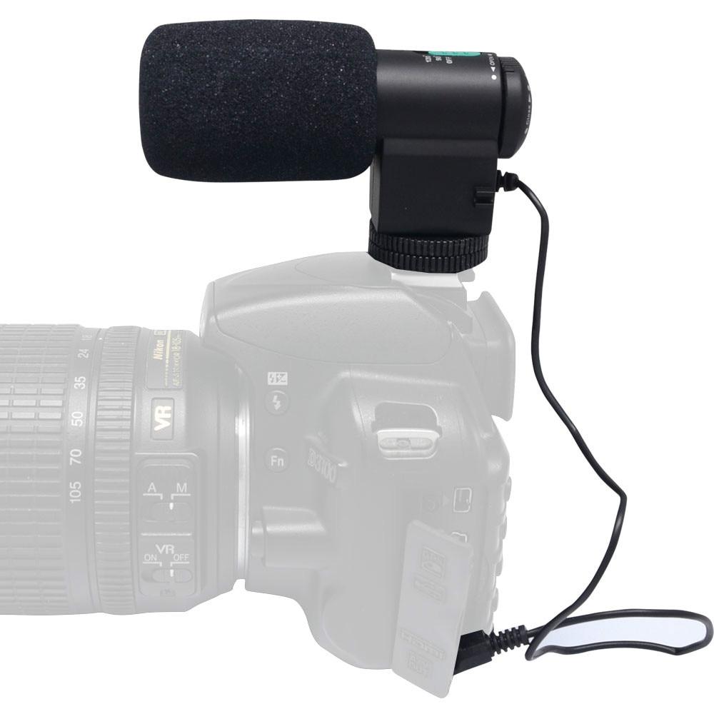 Mcoplus Mini micrófono estéreo direccional negro externo Mic-109 para cámaras Canon/Nikon/Sony DSLR de 3,5mm y DV videocámara