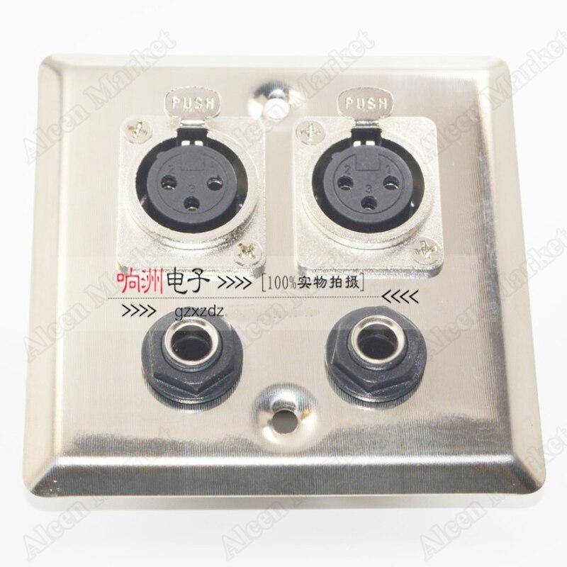5 unids/lote XLR hembra de socket 6,5 de acero inoxidable 6,35 micrófono Panel