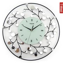 Ferro metallo intarsio specchio orologio moda europea moderna creativa soggiorno orologio da parete orologio silenzioso orologio da tasca personalità