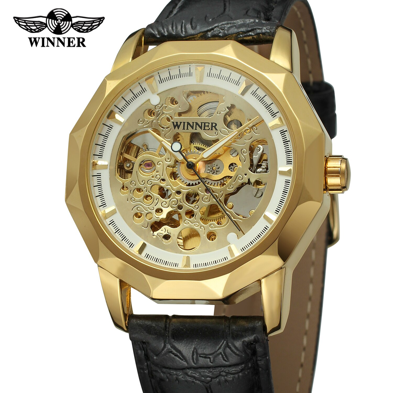 Relógio de Pulso Moda Vencedor Marca Superior Masculino Esqueleto Mecânico Casual Vento Automático Luxo Completo Ouro Aço Relógio 2021