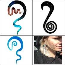 2Pcs Pyrex Glass Handmade Ear Spiral Taper Gauge  Ear Plug Expander Stretcher Flesh Tunnel Piercing Body Jewelry