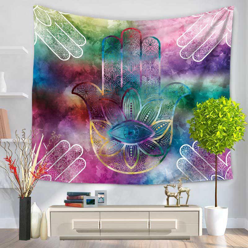 150*130cm 200*150cm Hamsa Hand Printed Tapestry Indian Mandala Wall Hanging Tapestries Carpet Beach Blanket Yoga Mat Home Decors