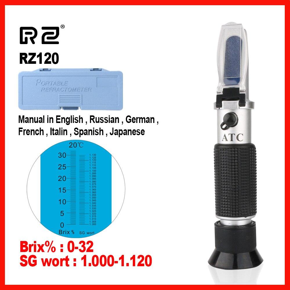 RZ Hohe qualität Echtes Refraktometer Bier Brix Wort Zucker Alkohol Spezifische Schwerkraft Handheld Werkzeug Hydrometer RZ120