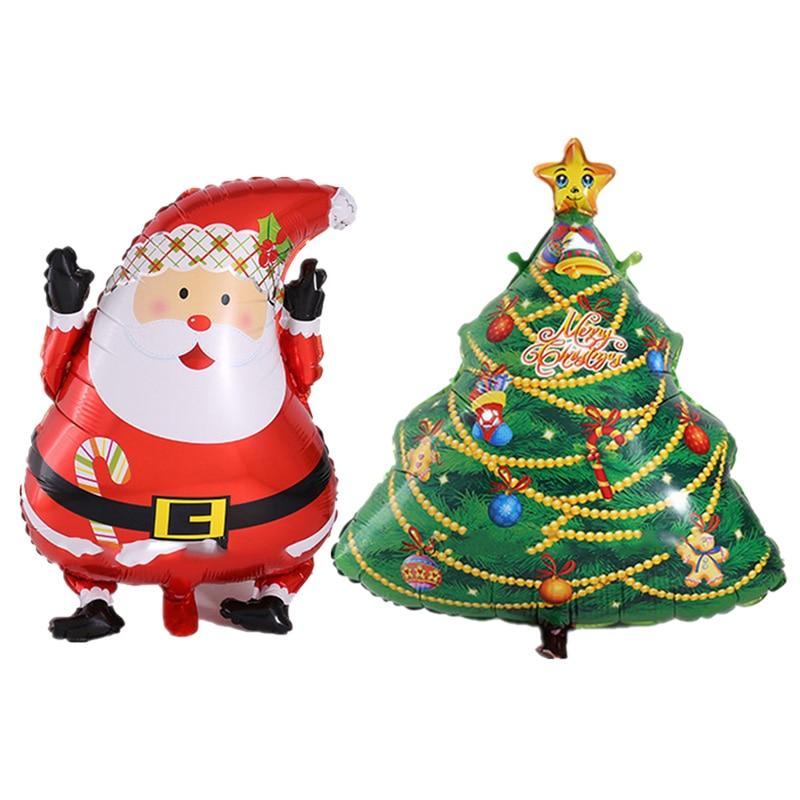 2 pcs desenhos animados árvore de natal e papai noel folha balões feliz natal decoração balão brinquedos clássicos