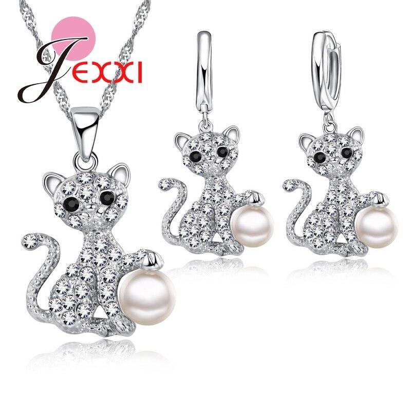 Conjunto de joyería nupcial para boda a la moda, cristal de Zirconia cúbica, colgante de Plata de Ley 925, collar, pendientes, conjunto de joyería