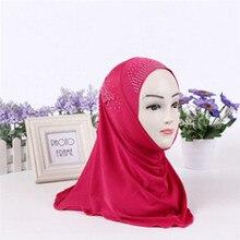 Imixlot High Quality Crystal Solid Color Muslim Islamic Hijab Scarf for Children Shawl Head Wrap Hea