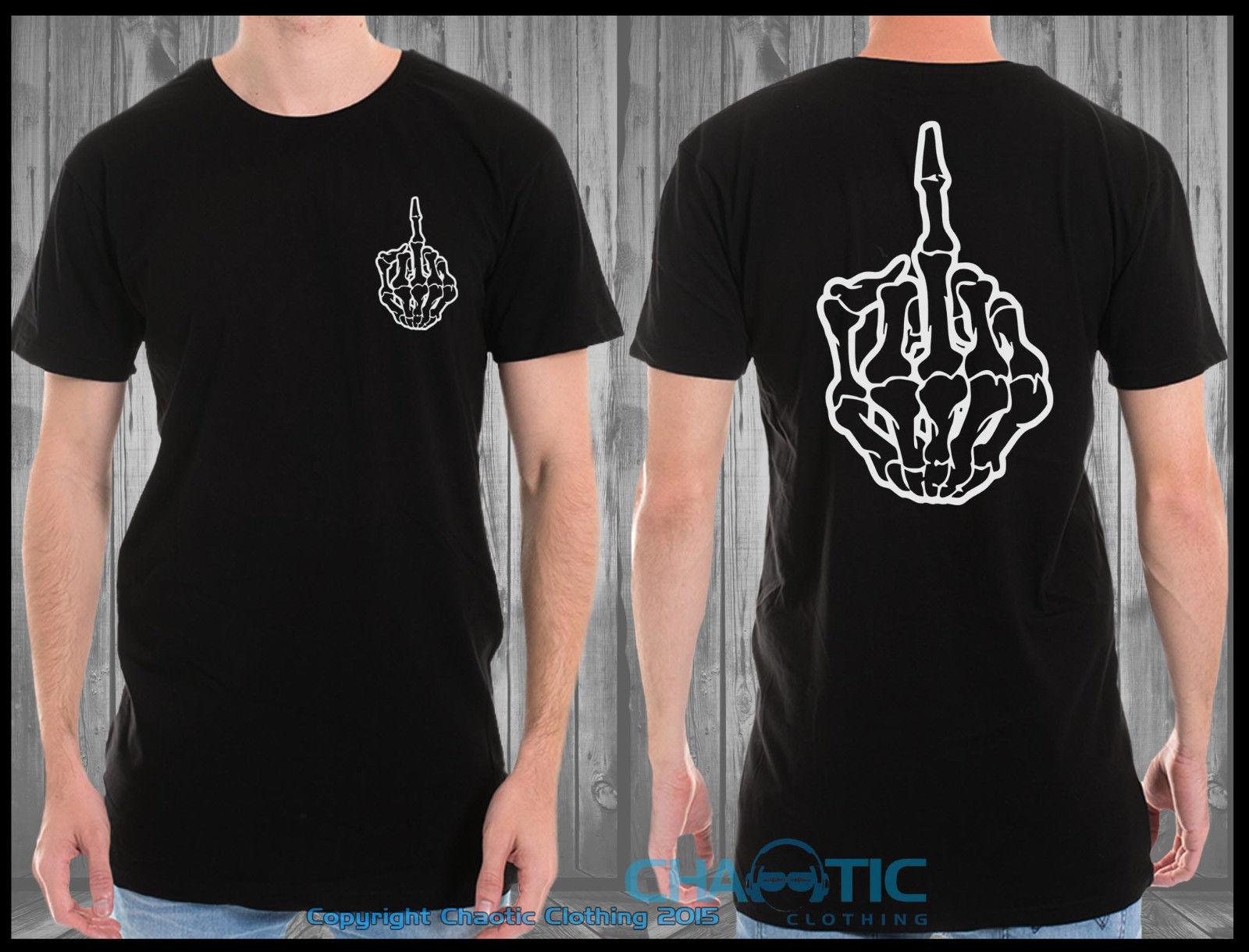 Nouveau célèbre hommes hauts t-shirts haut marque mince vêtements grand palangre t-shirt squelette doigt Hipster Festival de mode Hip Hop t-shirt