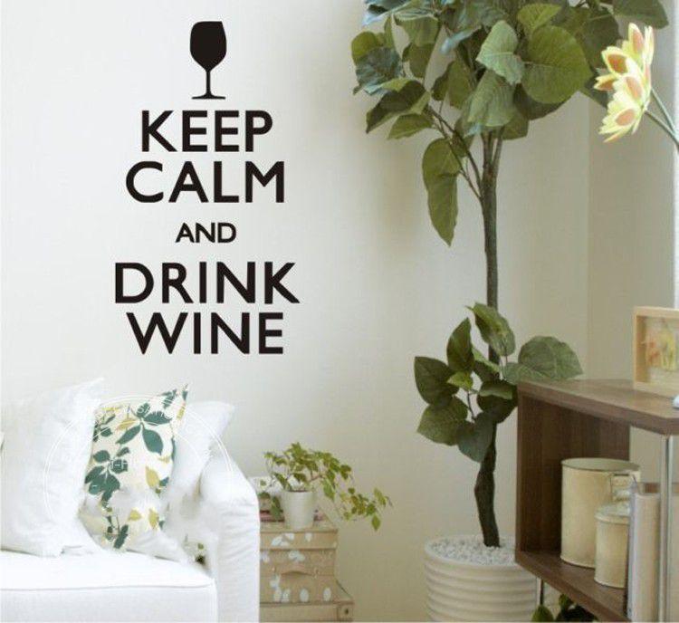 Cita en inglés vinilo Keep Calm And Drink Wine Quotes Wall art Sticker Transfer Wall Decals pegatinas de pared para decoración de cocina