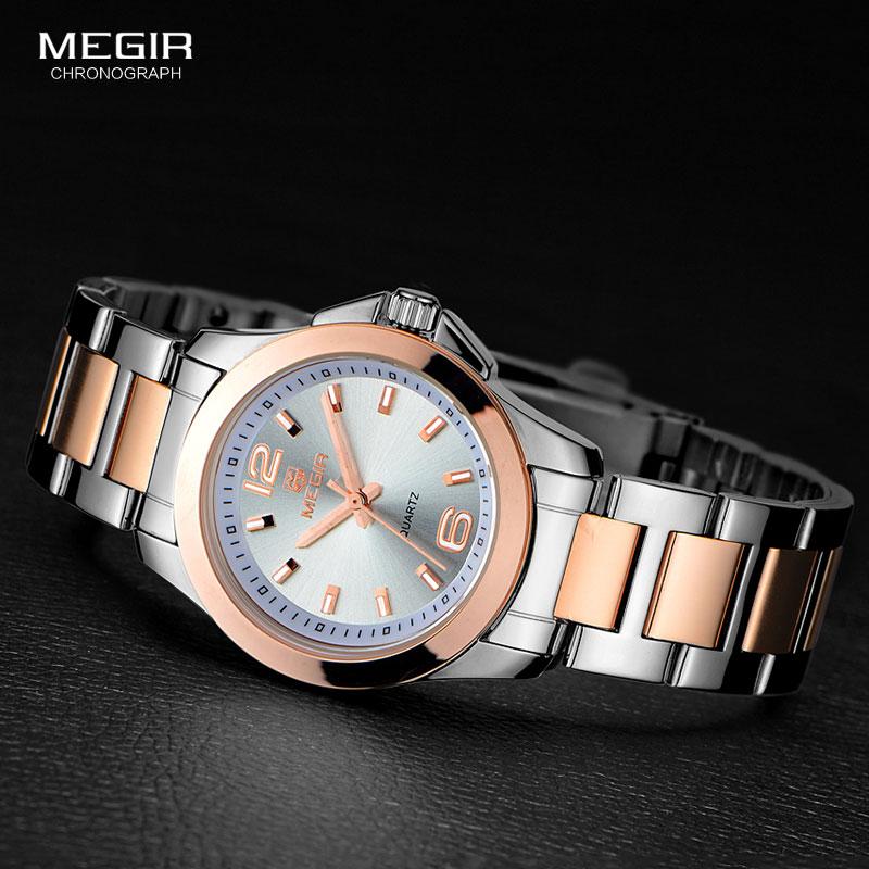 Megir-ساعة كوارتز نسائية مقاومة للماء ، ساعة بسيطة من الفولاذ ، تناظرية ، 5006L-7N0