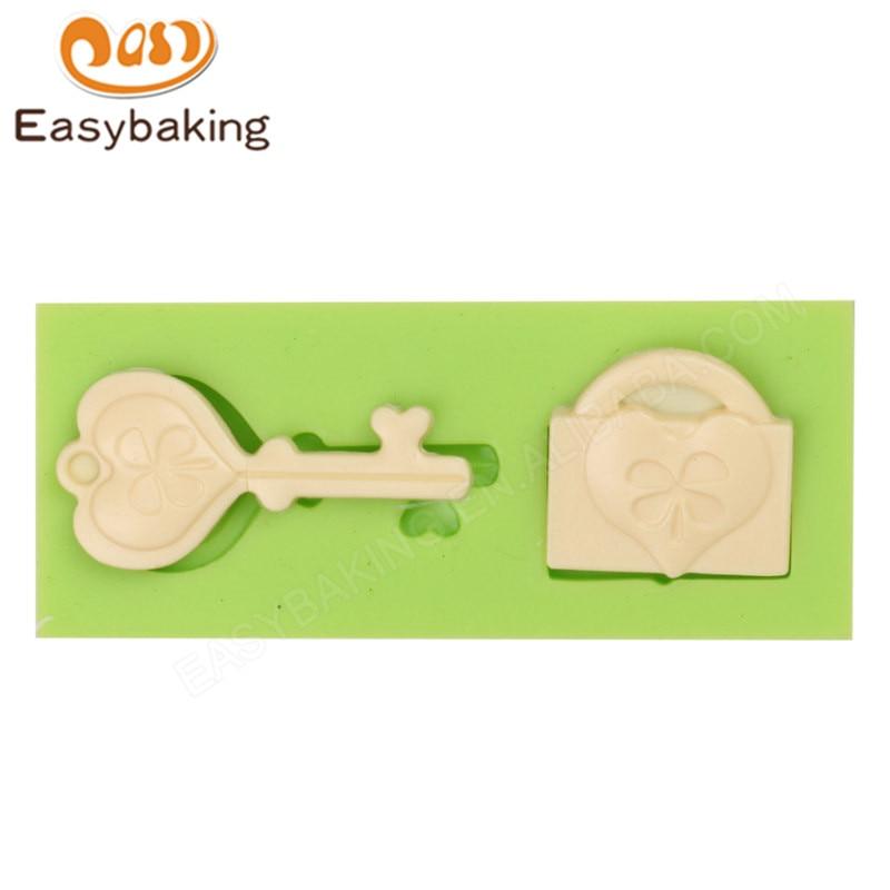 Mini llavero y diseño de bloqueo molde de silicona 3D utensilios para decoración de tortas con Fondant para arcilla de resina de galletas Fimo