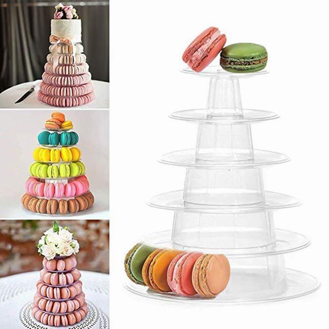 LASPERAL 4/6 poziomy Cupcake stojak wystawowy uchwyt Macaron wieża makaronik wyświetlacz ciasto stojak urodziny dekoracja na przyjęcie ślubne narzędzia